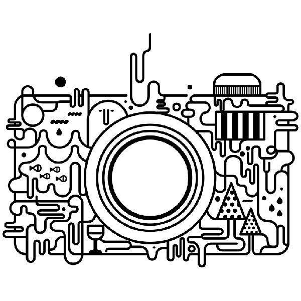 Aufkleber: Abstrakt Fotokamera