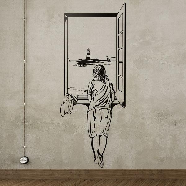 Wandtattoos: Mädchen am Fenster
