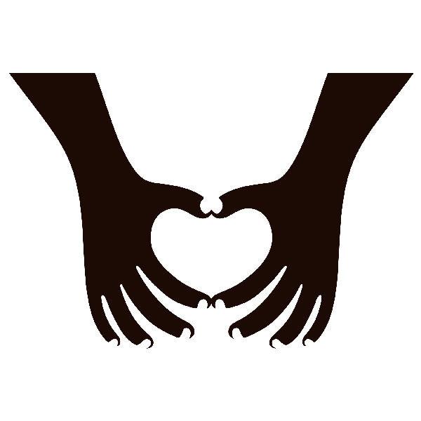 Aufkleber: Silhouette Hände Herzen 2