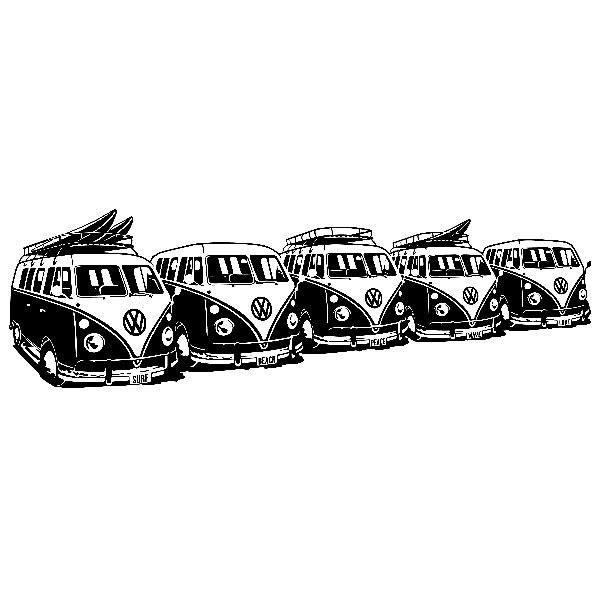 Wandtattoos: 5 Surfer VW Vans
