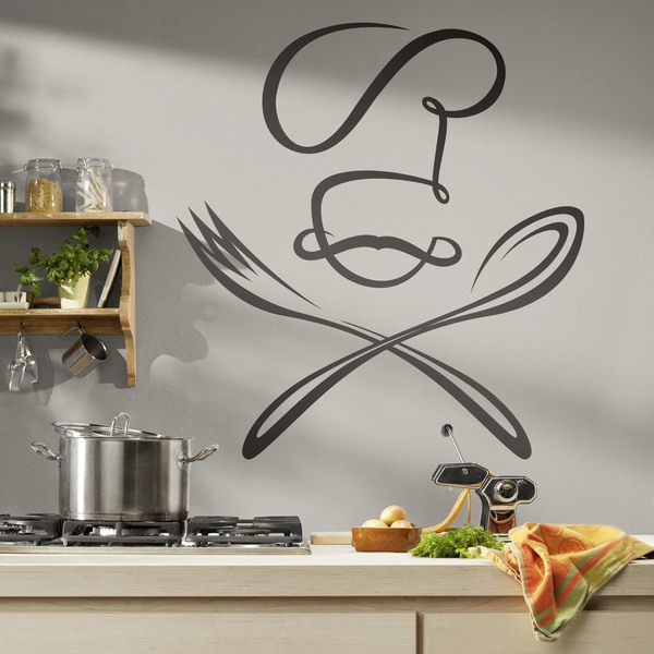 wandtattoo k che chef l ffel und gabel. Black Bedroom Furniture Sets. Home Design Ideas