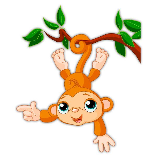Kinderzimmer Wandtattoo: Affe hängen von Ast