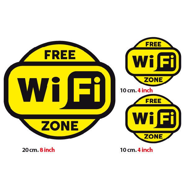 Wandtattoos: Free Wifi Zone 2 - Pack 3 aufkleber