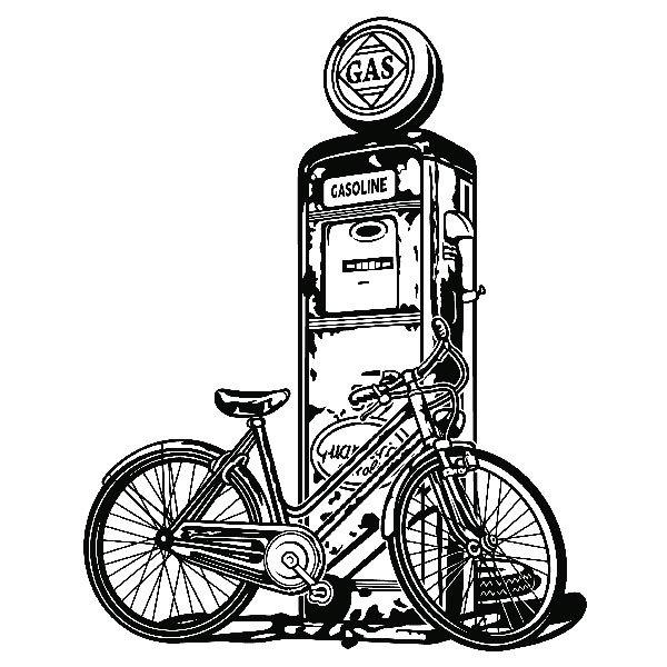 Wandtattoos: Fahrrad auf Vintage-Kraftstoffpumpe