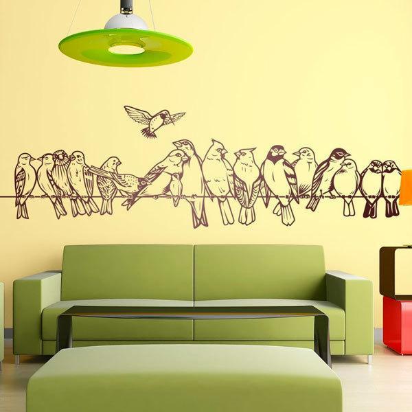 Wandtattoos: Vögel auf dem Draht