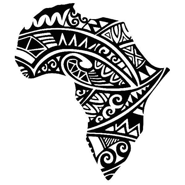 Wandtattoos: Afrika Silhouette Tribal Tattoo