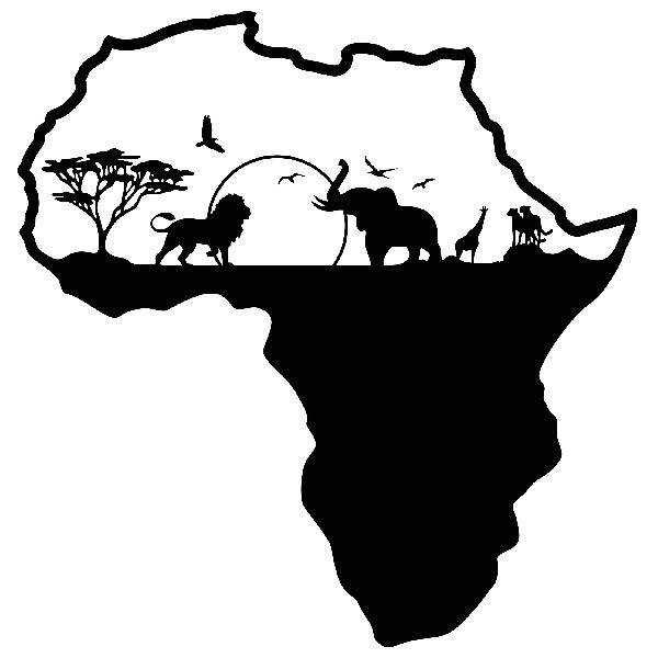 Wandtattoos: Afrika Silhouette Skyline Tiere
