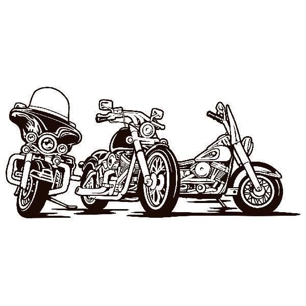 Wandtattoos: 3 Harley Davidson Motorräder