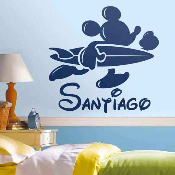 Kinderzimmer Wandtattoo: Personalisierte Surfer Mickey Mouse