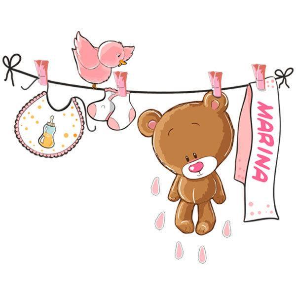 Kinderzimmer Wandtattoo: Teddybär auf eine Clothesline rosa von namen