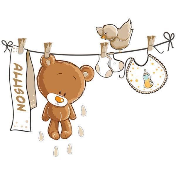 Kinderzimmer Wandtattoo: Teddybär auf eine Clothesline neutral von namen