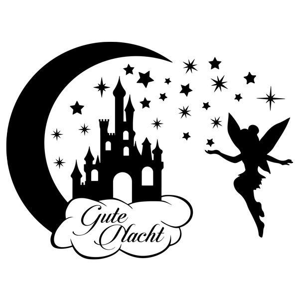 Kinderzimmer Wandtattoo: Schloss, Sterne und Tinkerbell Gute Nacht