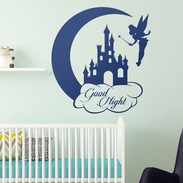 Kinderzimmer Wandtattoo: Tinkerbell, Castle and Moon Good Night