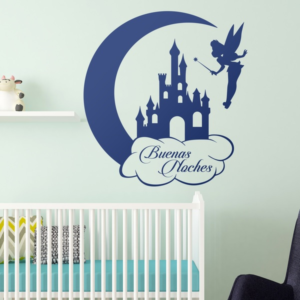 Kinderzimmer Wandtattoo: Tinkerbell Castle and Moon Buenas Noches