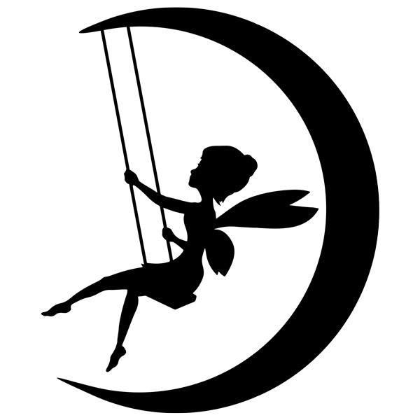 Kinderzimmer Wandtattoo: Tinkerbell feenhafte Schwingen auf dem Mond
