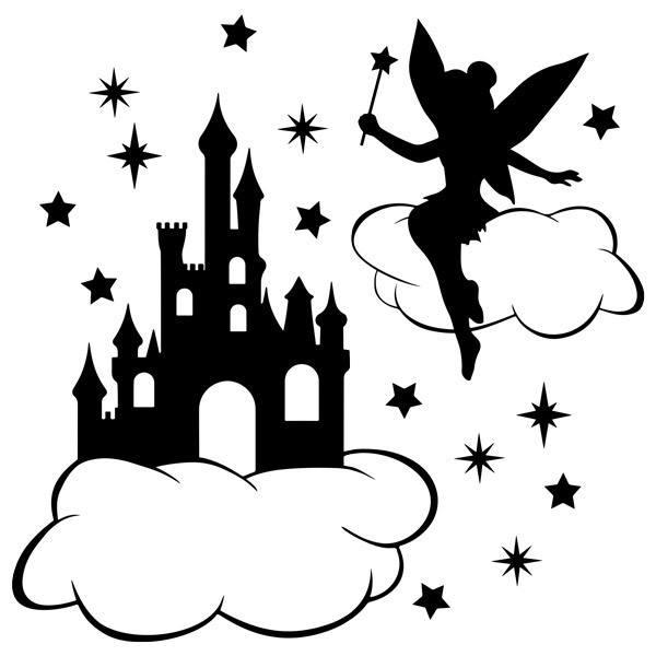 Kinderzimmer Wandtattoo: Tinkerbell, Wolken, Sternen und Schloss
