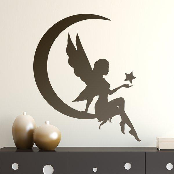 Kinderzimmer Wandtattoo: Fee auf dem Mond mit Stern
