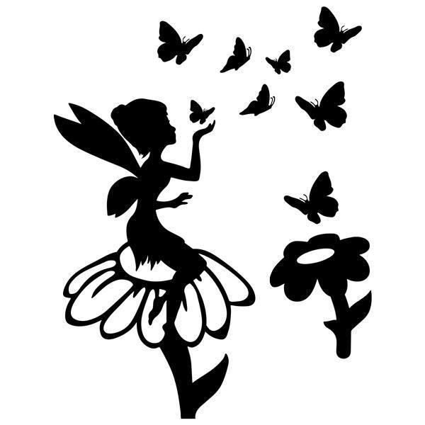 Kinderzimmer Wandtattoo: Tinkerbell, Blumen und Schmetterlinge