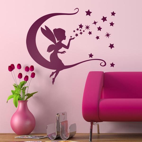 Kinderzimmer Wandtattoo: Tinkerbell, Mond und Sterne