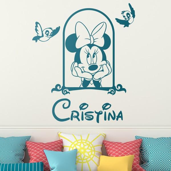 Kinderzimmer Wandtattoo: Minnie Maus in das Fenster und Vögel