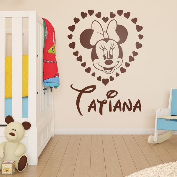 Kinderzimmer Wandtattoo: Minnie Mouse-Herz mit Namen 2 0