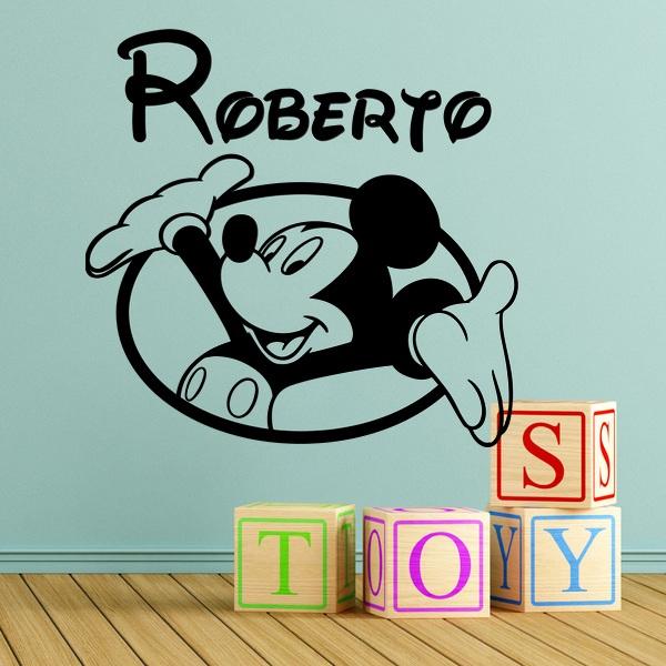 Kinderzimmer Wandtattoo: Mickey Mouse-Fenster und Namen