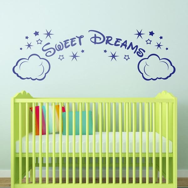 Kinderzimmer Wandtattoo: Wolken und Sterne Sweet Dreams