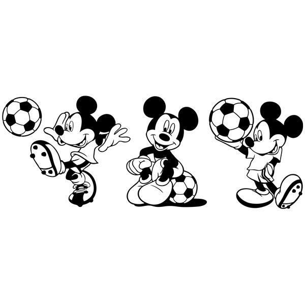 Kinderzimmer Wandtattoo: Triptychon Mickey Mouse Footballer