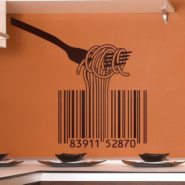 Wandtattoos: Gabel, Spaghetti und Barcode-
