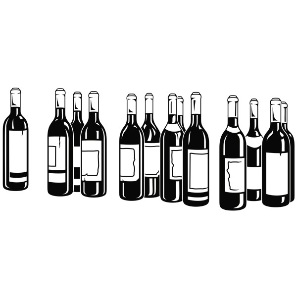 Wandtattoos: Flaschen Rotwein