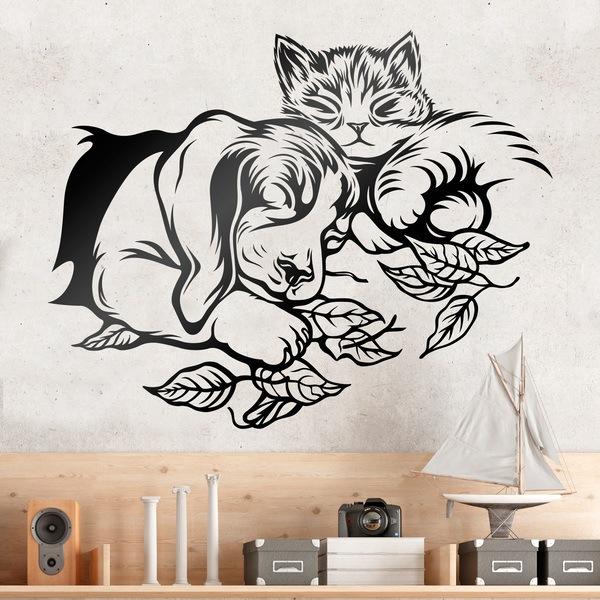 Wandtattoos: Hund und Katze Schlaf