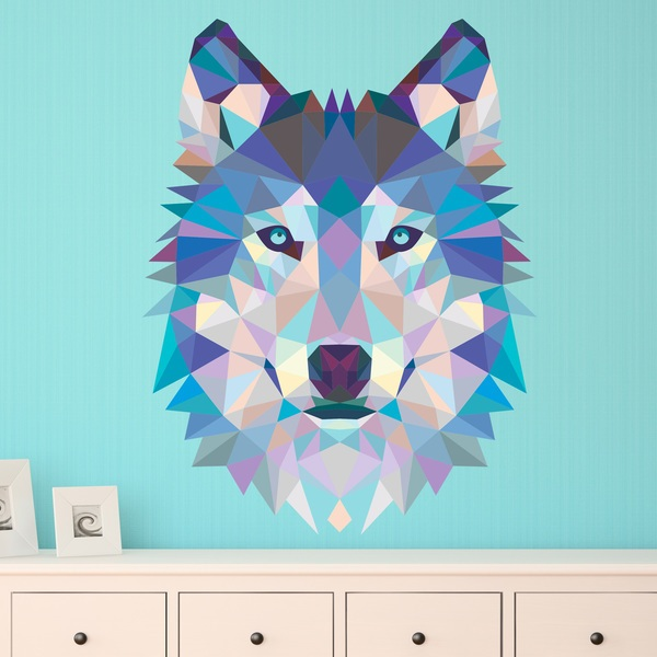 Wandtattoos: Origami Wolfskopf