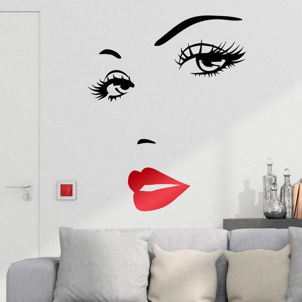 Wandtattoos: Schöne Frau Gesicht