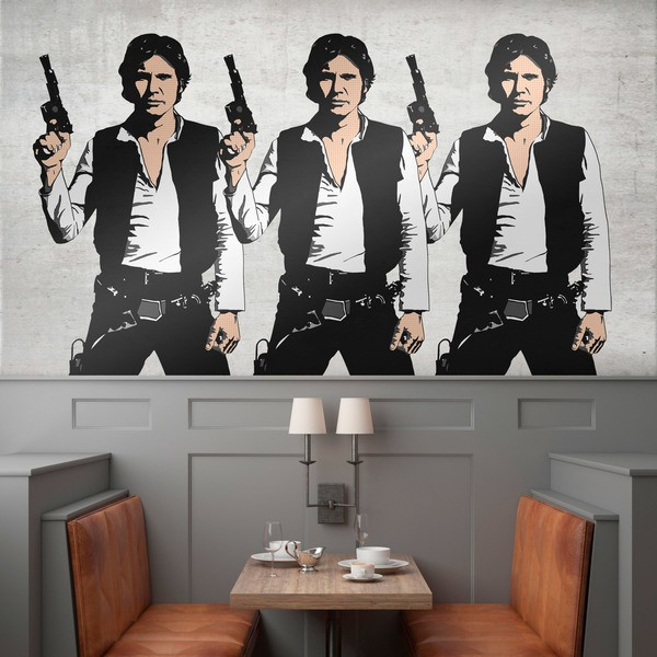 Wandtattoos: Triptychon Han Solo Pop-Art