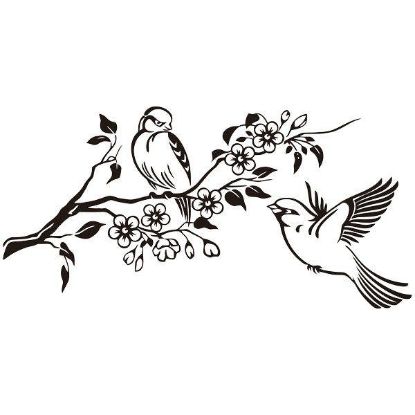 Wandtattoos: Paar Vögel auf Zweig und Blumen