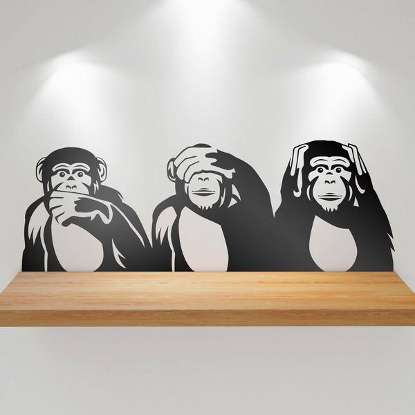 Wandtattoos: Triptychon chimps