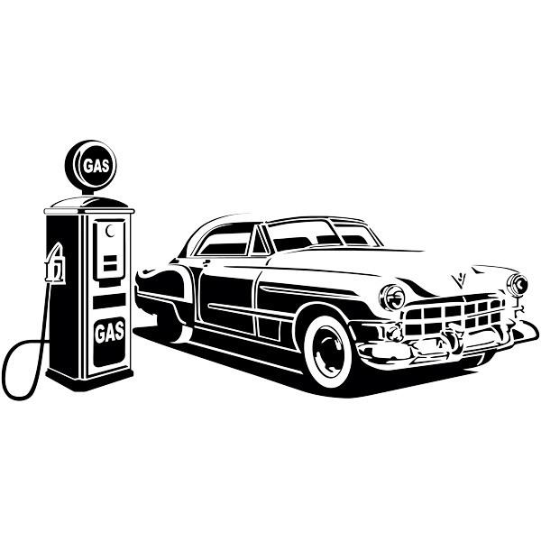 Wandtattoos: Amerikanische Auto an der Tankstelle
