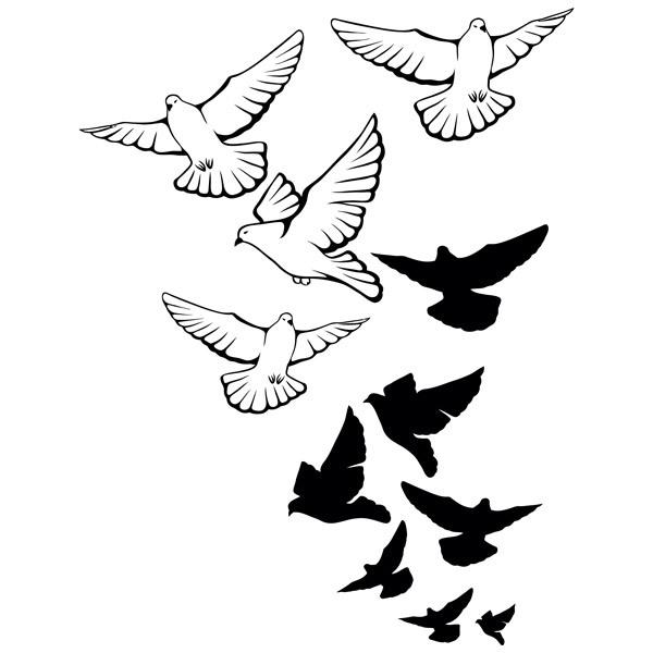 Wandtattoos: Schwarm Tauben