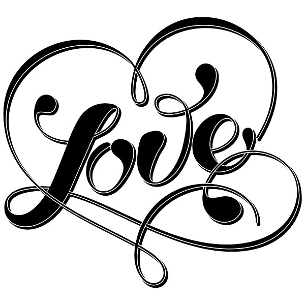 Wandtattoos: Wort Love und Herz