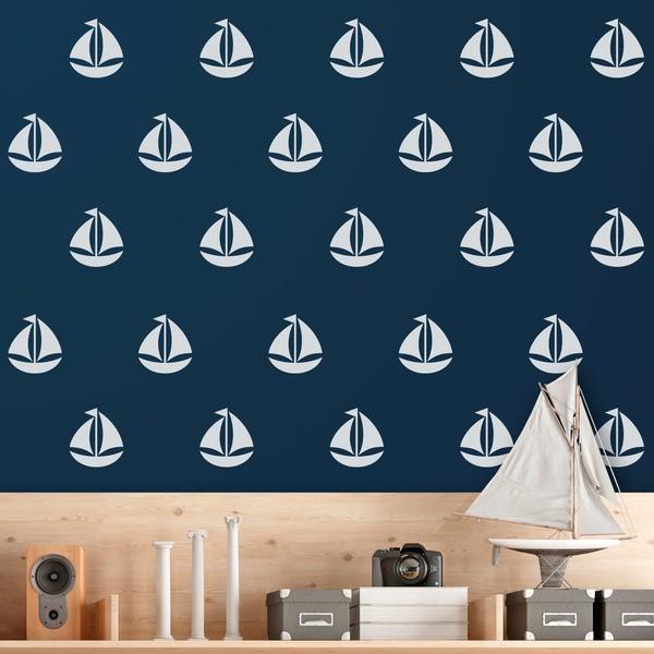 Wandtattoos: Kit 9 Wandtattoo Segelboot
