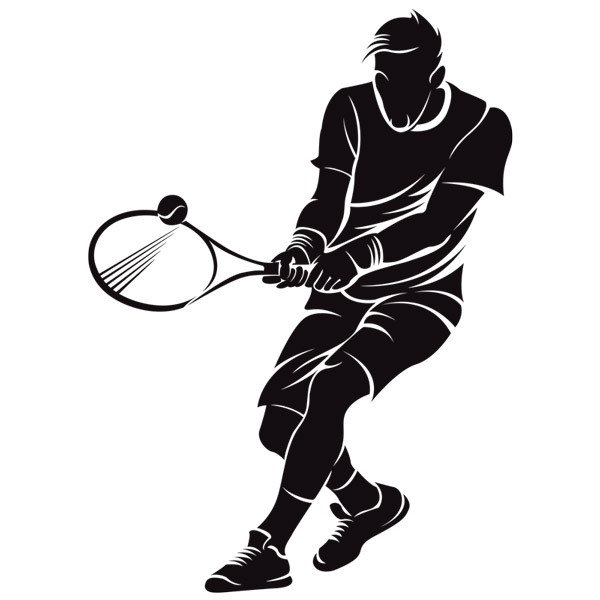 Wandtattoos: Tennis-Spieler Rückhand zwei Hände