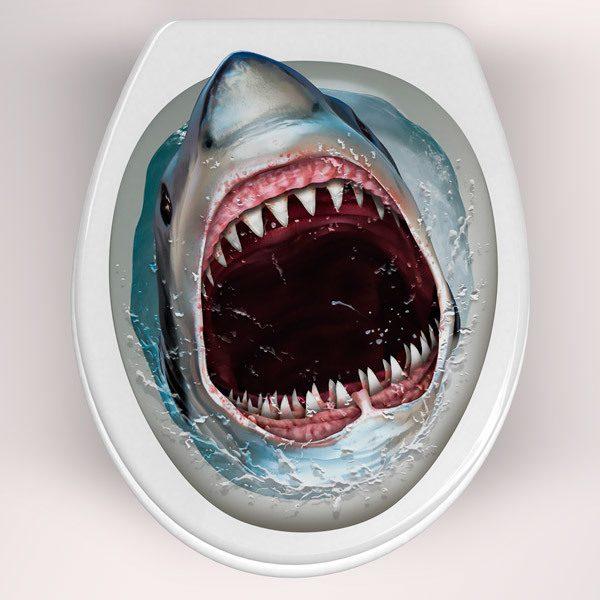 Wandtattoos: Hai aus der Toilettenschüssel kommen
