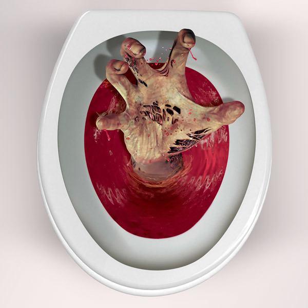 Wandtattoos: Zombie Hand kommt die Toilette aus