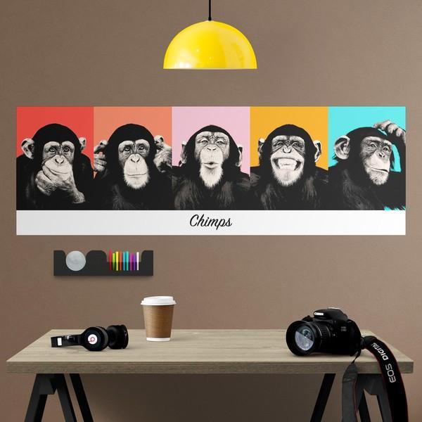 Wandtattoos: klebendes Poster von 5 Chimpanzees