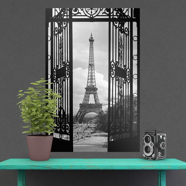 Wandtattoos: Poster Klebstoff Tür Eiffelturm