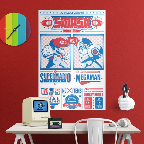 Wandtattoos: Klebstoff Poster Mario Bros vs Megaman