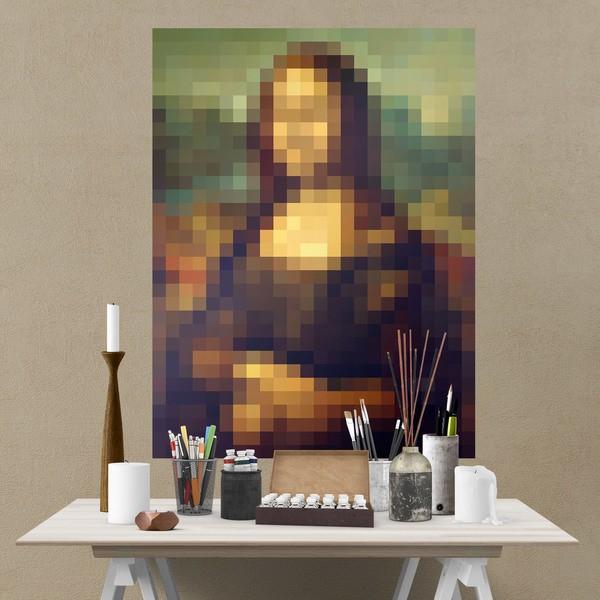 Wandtattoos: Klebstoff Poster Mona Lisa Gioconda Pixel