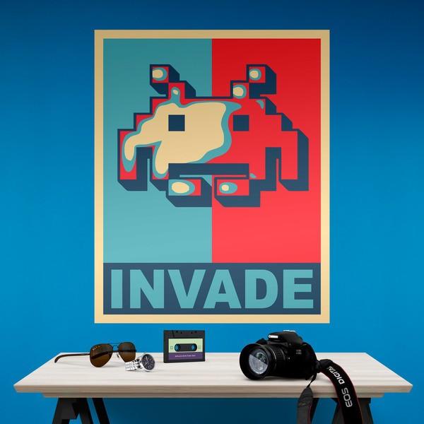 Wandtattoos: Klebstoff Poster Invader Obama Style