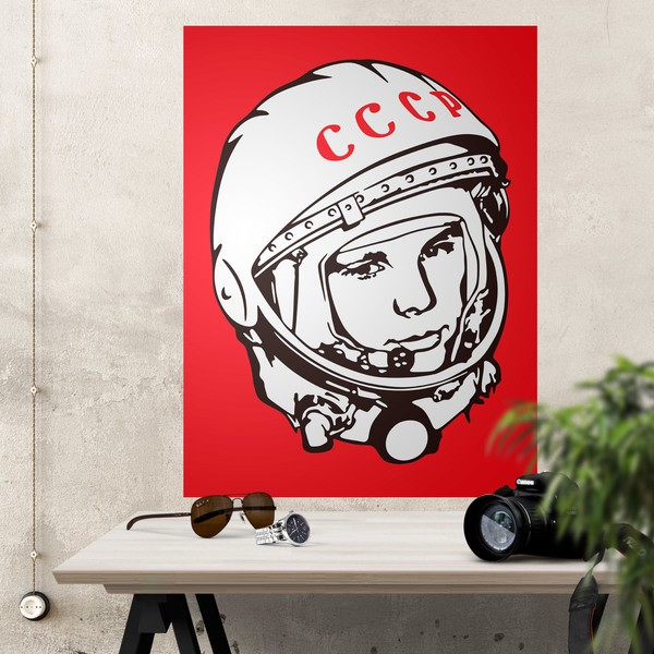 Wandtattoos: Klebstoff Poster Astronaut Yuri Gagarin