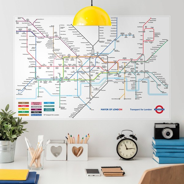 Wandtattoos: Klebstoff Poster London Untergrundkarte